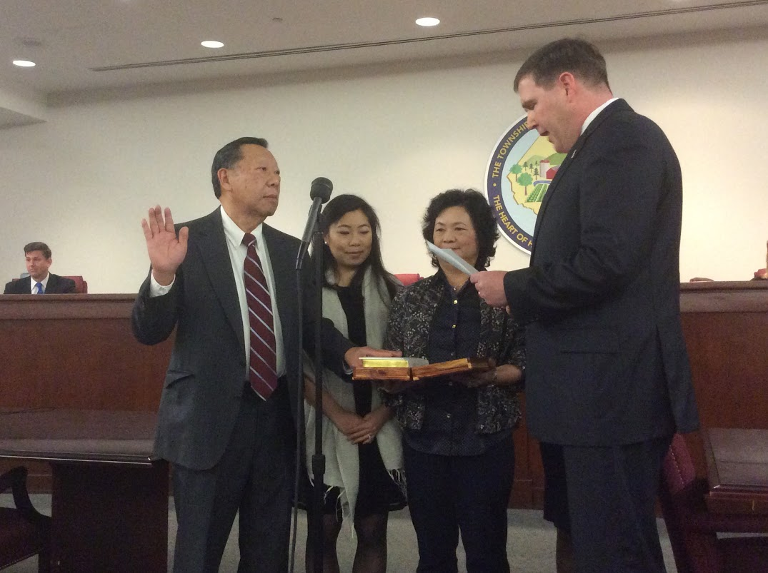 Richard Chen sworn in for Raritan Twp. Committee by Senator Mike Doherty