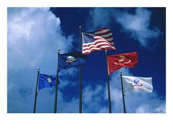 Flags of Army, Navy, Marines and Coast Guard