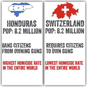 Honduras and Switzerland have 8.2 million people, but Honduras has a high murder rates and bans guns unlike Switzerland which has a low crime rate and has many guns.