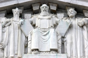 Moses with two tablets on the East Face of the Supreme Court B