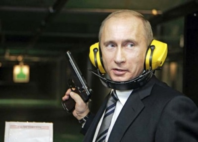 Vladimir Putin at shooting range