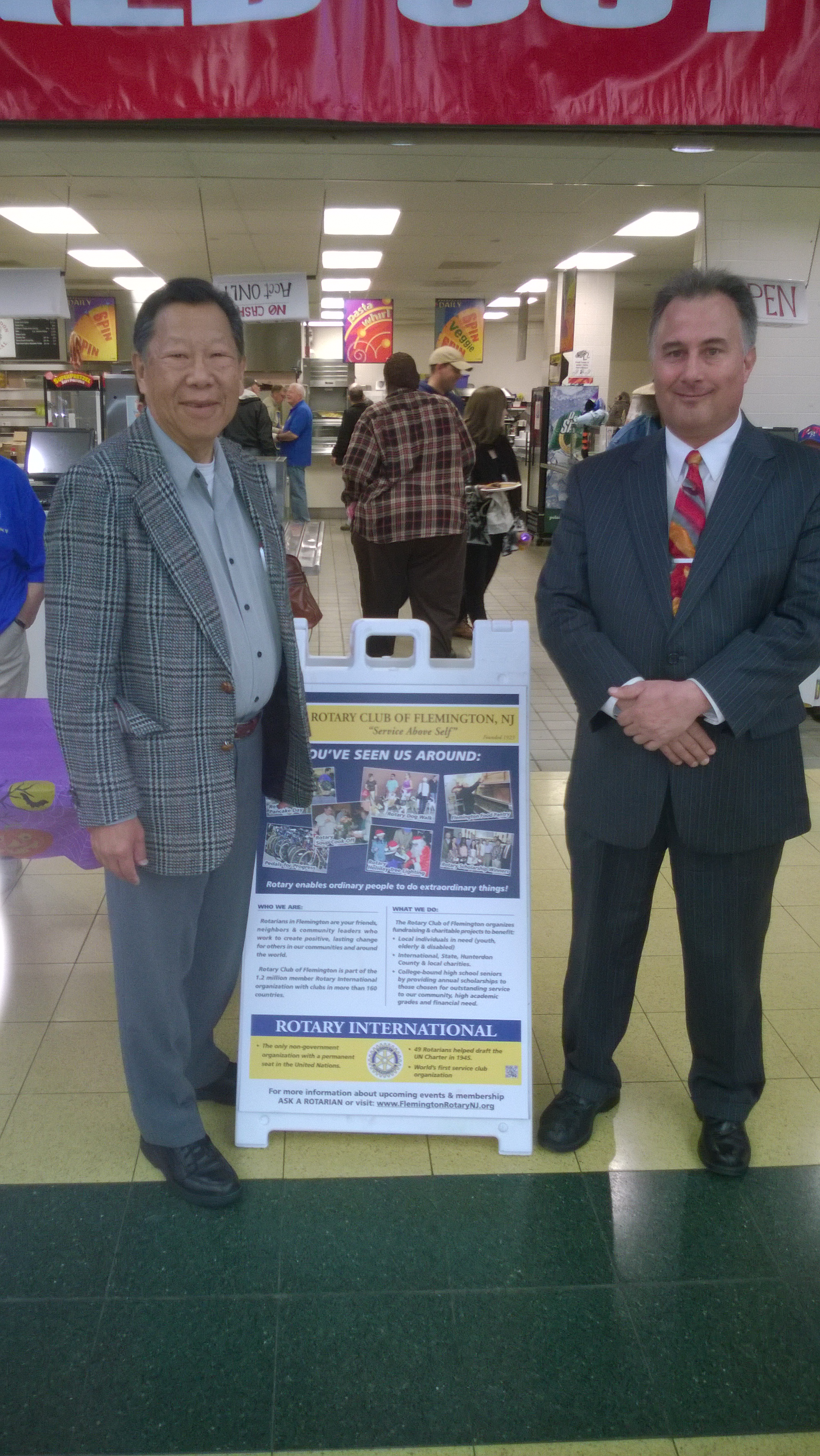 Rein and Chen at a Rotary Club breakfast fundraiser at Hunterdon Central High School on 11/01/14