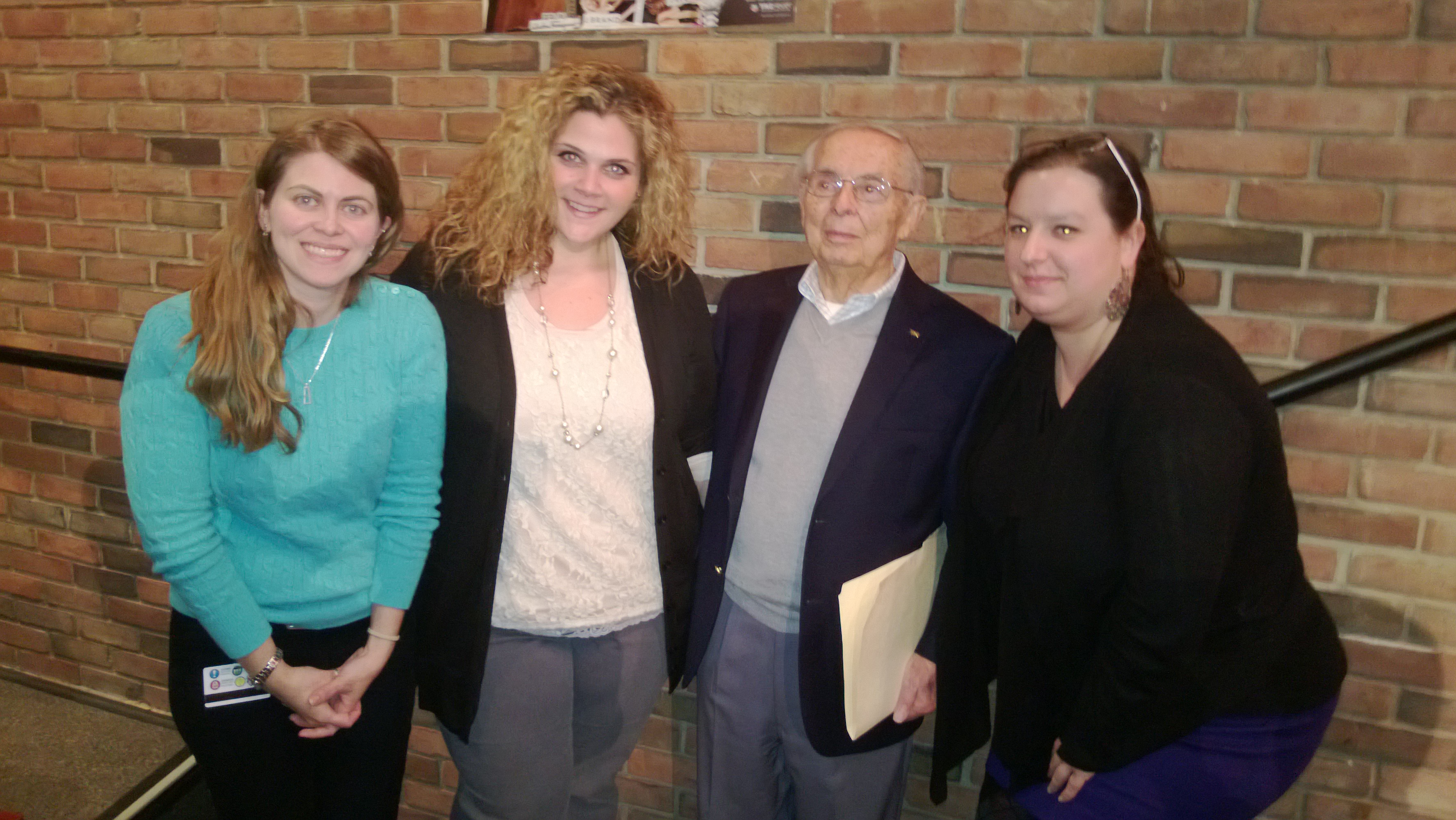 Picture of Holocaust survivor Jack Zaifman at Hunterdon Central High School with school teachers on 03/26/14